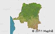 Satellite Map of Democratic Republic of the Congo, single color outside
