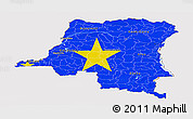 Flag Panoramic Map of Democratic Republic of the Congo