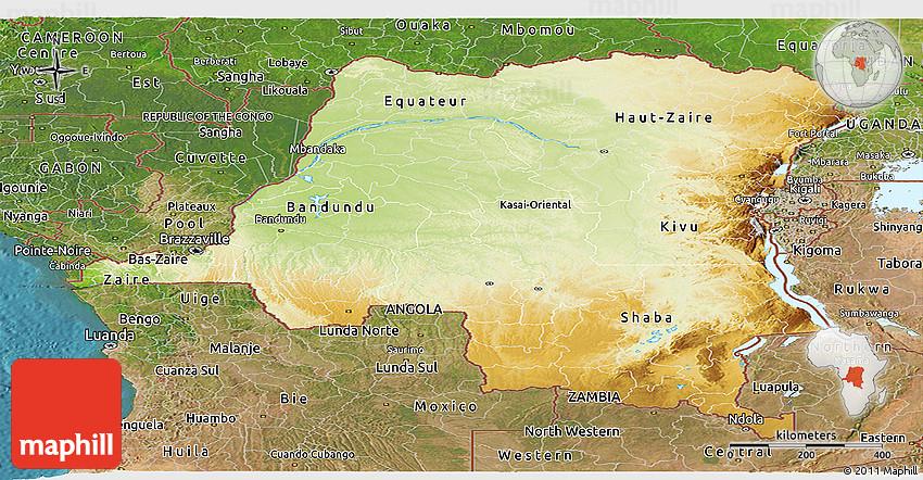 Physical Panoramic Map Of Democratic Republic Of The Congo - Democratic republic congo map