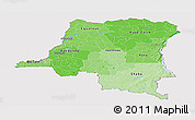 Political Shades Panoramic Map of Democratic Republic of the Congo, cropped outside