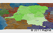 Political Shades Panoramic Map of Democratic Republic of the Congo, darken