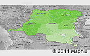 Political Shades Panoramic Map of Democratic Republic of the Congo, desaturated