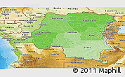 Political Shades Panoramic Map of Democratic Republic of the Congo, physical outside