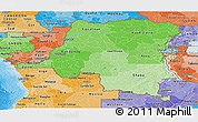 Political Shades Panoramic Map of Democratic Republic of the Congo