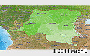 Political Shades Panoramic Map of Democratic Republic of the Congo, satellite outside, bathymetry sea