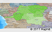 Political Shades Panoramic Map of Democratic Republic of the Congo, semi-desaturated, land only