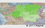 Political Shades Panoramic Map of Democratic Republic of the Congo, semi-desaturated