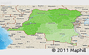 Political Shades Panoramic Map of Democratic Republic of the Congo, shaded relief outside, bathymetry sea