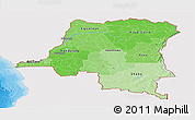 Political Shades Panoramic Map of Democratic Republic of the Congo, single color outside