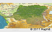 Satellite Panoramic Map of Democratic Republic of the Congo, physical outside, satellite sea