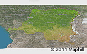 Satellite Panoramic Map of Democratic Republic of the Congo, semi-desaturated, land only