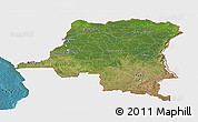 Satellite Panoramic Map of Democratic Republic of the Congo, single color outside