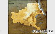 Physical 3D Map of Shaba, darken