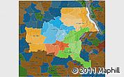 Political 3D Map of Shaba, darken