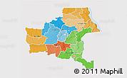 Political 3D Map of Shaba, single color outside