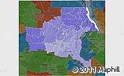 Political Shades 3D Map of Shaba, darken