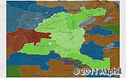 Political Shades Panoramic Map of Haut-Shaba, darken