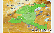Political Shades Panoramic Map of Haut-Shaba, physical outside