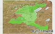 Political Shades Panoramic Map of Haut-Shaba, satellite outside