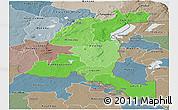 Political Shades Panoramic Map of Haut-Shaba, semi-desaturated