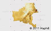Physical Map of Shaba, cropped outside