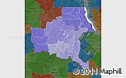 Political Shades Map of Shaba, darken