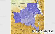 Political Shades Map of Shaba, physical outside