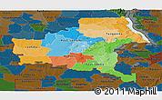 Political Panoramic Map of Shaba, darken