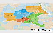 Political Panoramic Map of Shaba, lighten