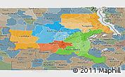 Political Panoramic Map of Shaba, semi-desaturated