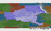 Political Shades Panoramic Map of Shaba, darken