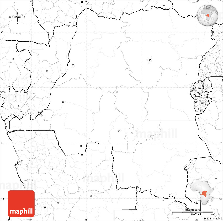 Blank Simple Map of Democratic Republic of the Congo no labels