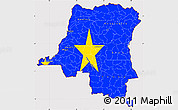 Flag Simple Map of Democratic Republic of the Congo