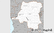 Gray Simple Map of Democratic Republic of the Congo