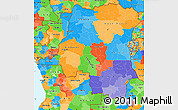 Political Simple Map of Democratic Republic of the Congo
