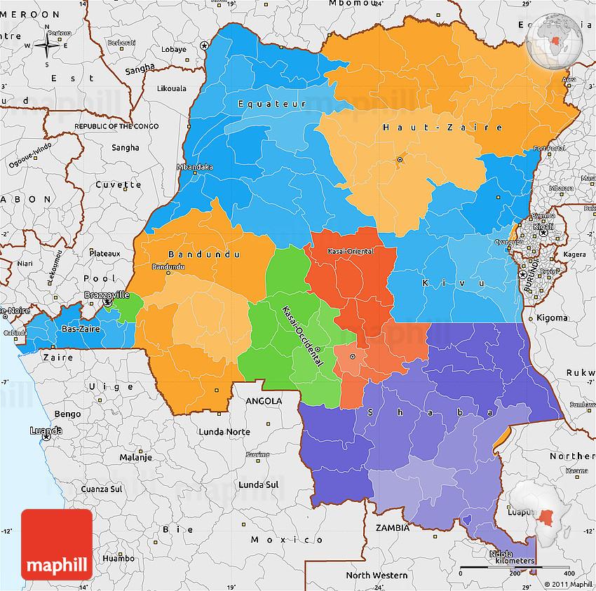 Political Simple Map of Democratic Republic of the Congo, single ...