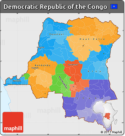 Free Political Simple Map Of Democratic Republic Of The Congo - Democratic republic congo map