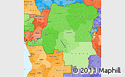 Political Shades Simple Map of Democratic Republic of the Congo