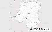Silver Style Simple Map of Democratic Republic of the Congo, cropped outside