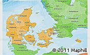 Political Shades 3D Map of Denmark