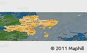 Political Shades Panoramic Map of Arhus, darken
