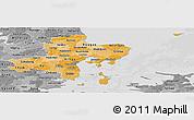Political Shades Panoramic Map of Arhus, desaturated