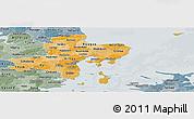 Political Shades Panoramic Map of Arhus, semi-desaturated