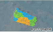 Political 3D Map of Bornholm, darken