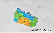Political 3D Map of Bornholm, desaturated
