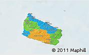 Political 3D Map of Bornholm, lighten