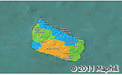 Political 3D Map of Bornholm, satellite outside