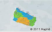 Political 3D Map of Bornholm, semi-desaturated
