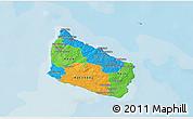 Political 3D Map of Bornholm, single color outside
