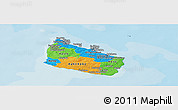 Political Panoramic Map of Bornholm, political shades outside
